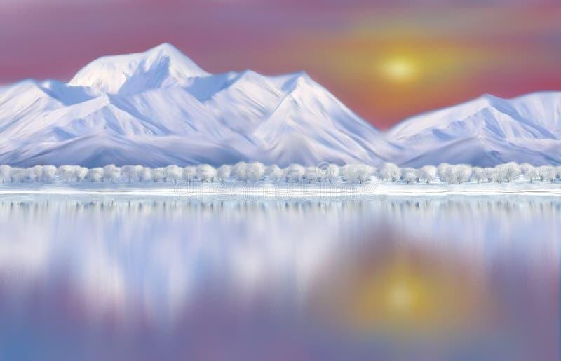 Nascer do sol em montanhas tampadas neve com reflexão ilustração do vetor