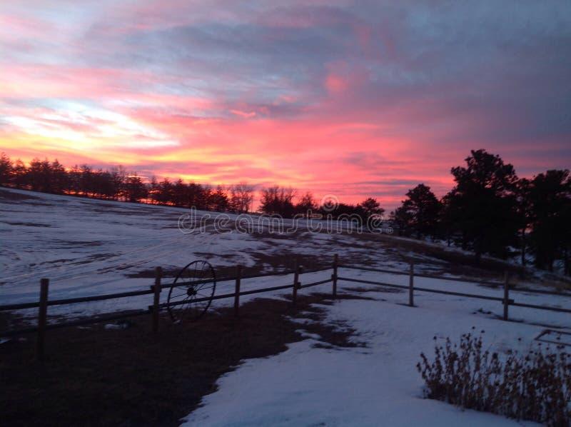 Nascer do sol em Nebraska ocidental fotografia de stock