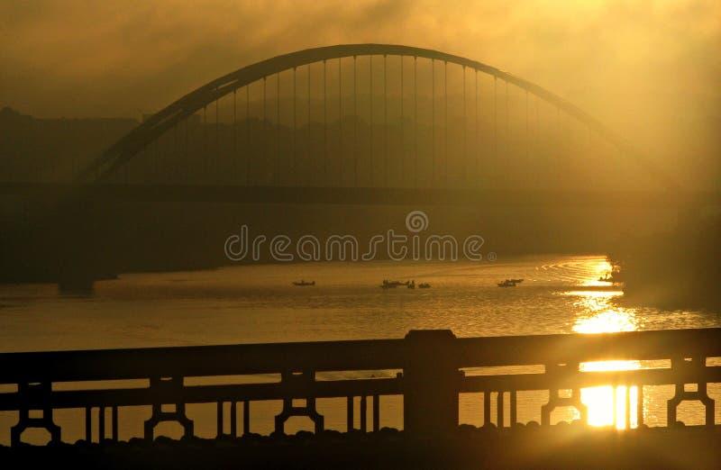 Nascer do sol em Pittsburgh, Pensilvânia imagens de stock