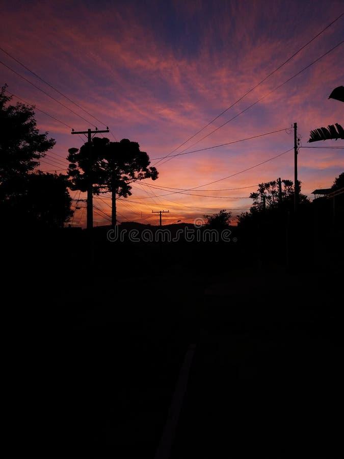 Nascer do sol em Porto Alegre, Brasil imagens de stock