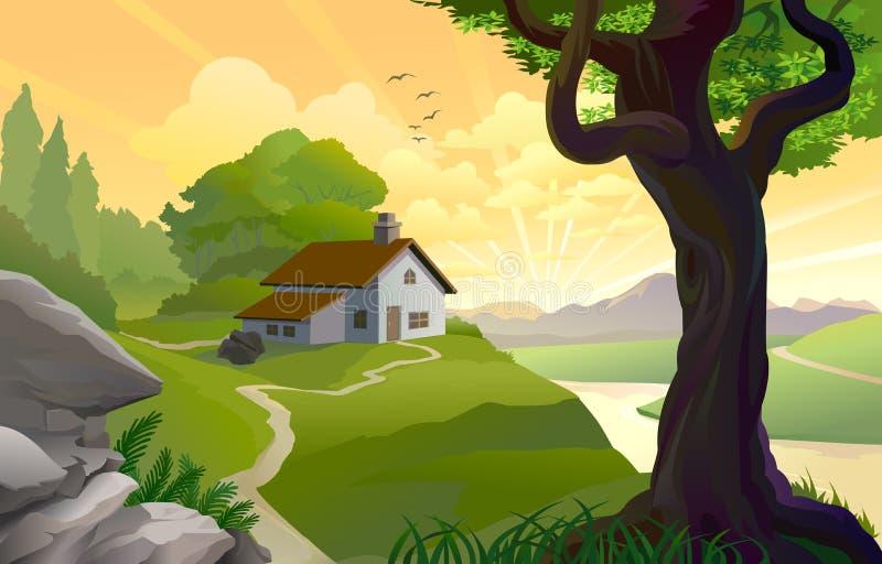 Nascer do sol em uma terra feericamente ilustração royalty free