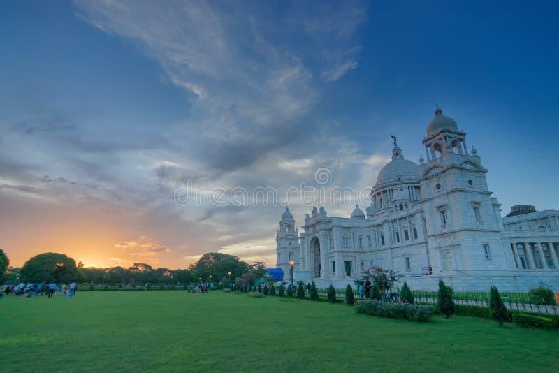 Nascer do sol em Victoria Memorial, Kolkata fotografia de stock royalty free