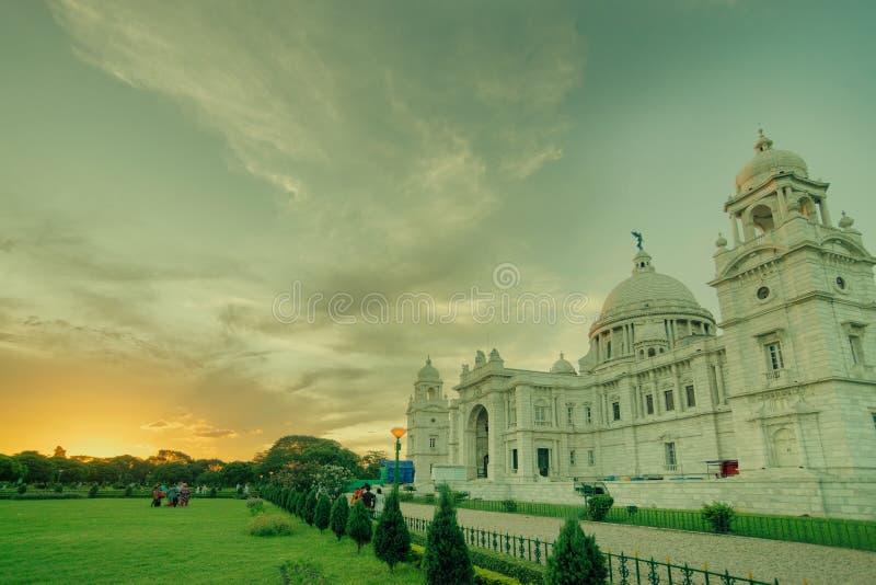 Nascer do sol em Victoria Memorial, Kolkata foto de stock