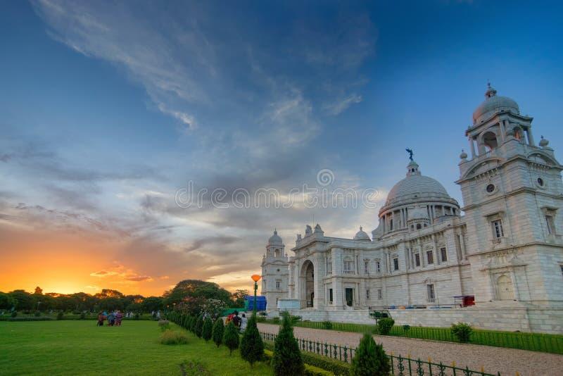 Nascer do sol em Victoria Memorial, Kolkata fotos de stock