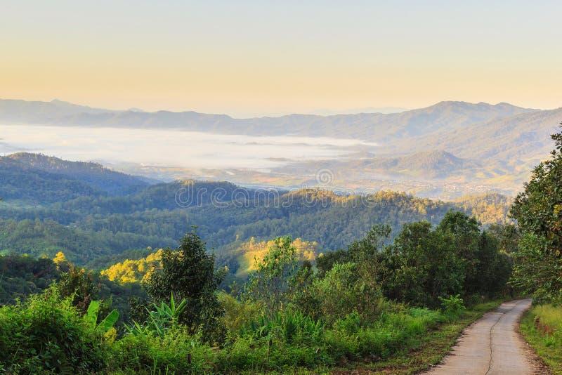Nascer do sol enevoado da manhã na montanha imagens de stock royalty free