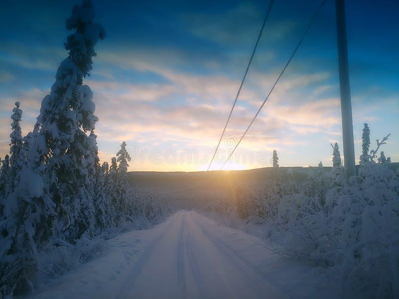 Nascer do sol frio em Alaska fotos de stock