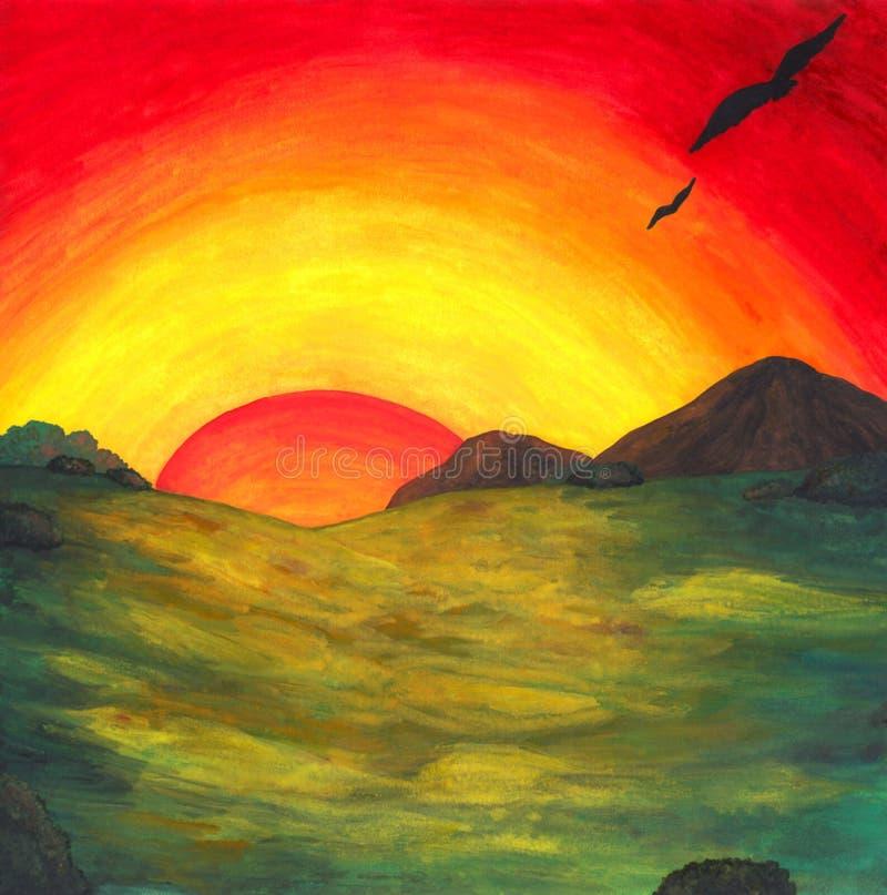 Nascer do sol mágico 2017 ilustração royalty free