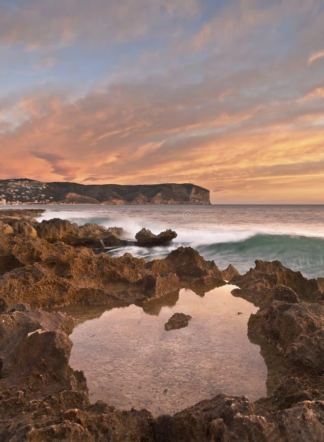 Nascer do sol mediterrâneo fotografia de stock