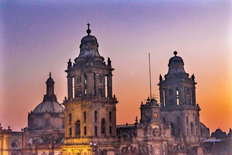 Nascer do sol metropolitano Zocalo Cidade do México México da catedral imagens de stock royalty free