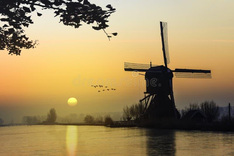 Nascer do sol morno e congelado do moinho de vento imagem de stock royalty free