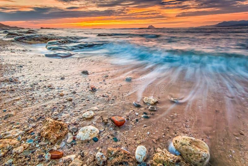 Nascer do sol na costa do nordeste de Taiwan foto de stock