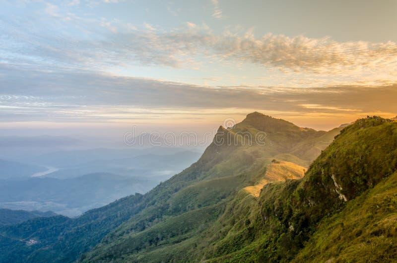 Nascer do sol na montanha de PhaTung, Chiang Rai imagem de stock