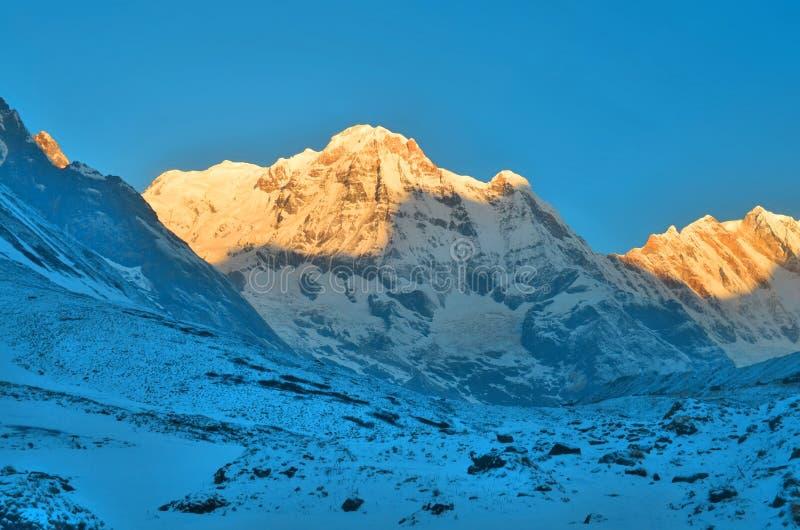 Nascer do sol na paisagem nevado da montanha em Himalaya Fundos: luz do sol Pico sul de Annapurna, trilha do acampamento base de  fotos de stock royalty free