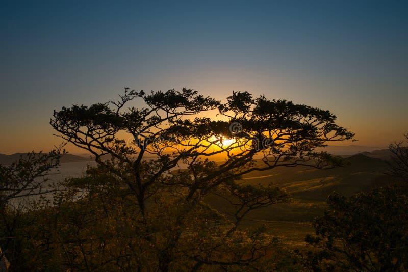 Nascer do sol na península em nome de Krabbe no mar japonês fotografia de stock