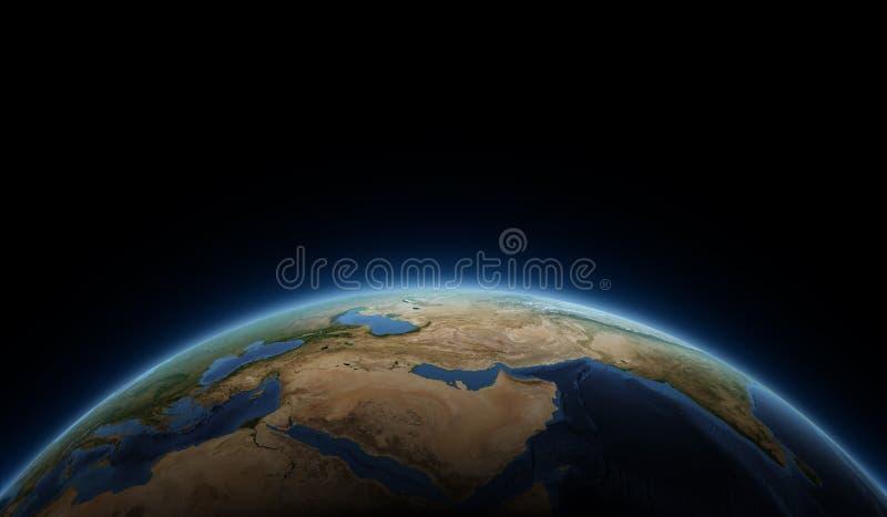Nascer do sol na terra do planeta imagens de stock
