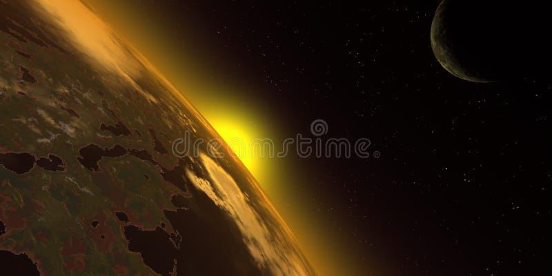 Nascer do sol no espaço ilustração stock