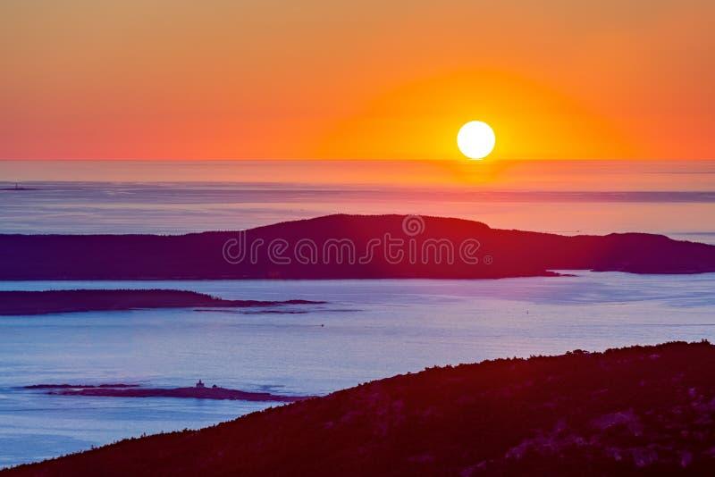Nascer do sol no parque nacional do Acadia fotografia de stock