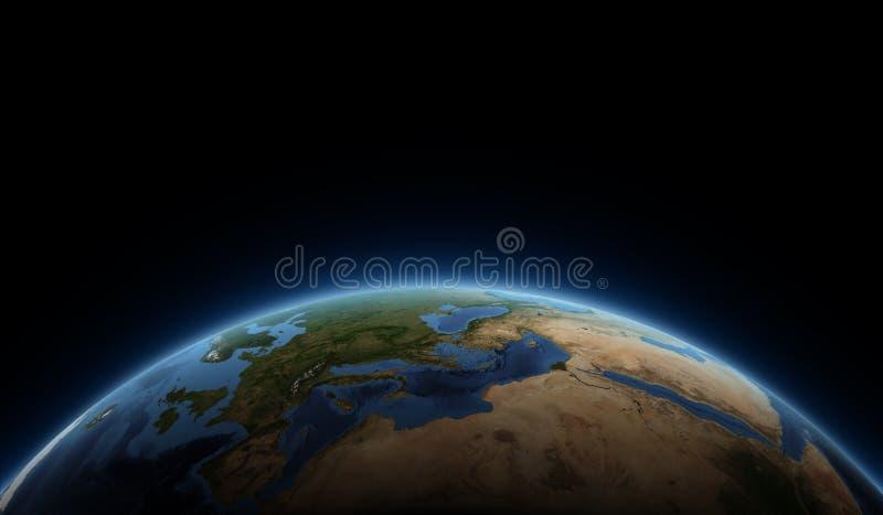 Nascer do sol no planeta ilustração royalty free