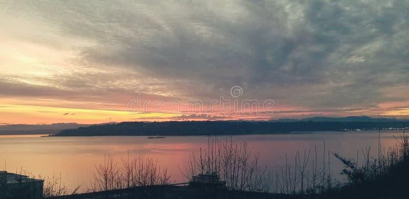 Nascer do sol no ponto do ruston, Tacoma fotos de stock