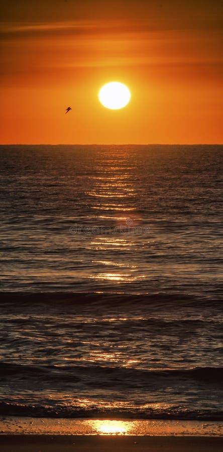 Nascer do sol, Oceano Atlântico, na extremidade do ` s do verão imagens de stock
