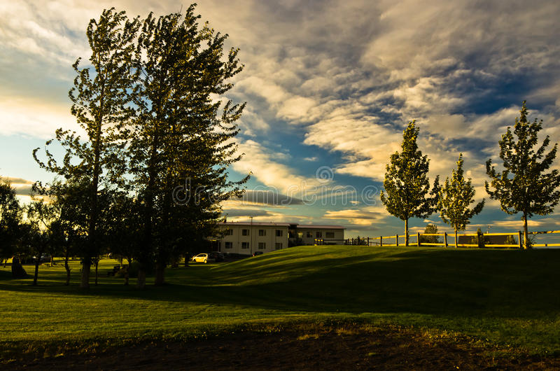 Nascer do sol perto do lago Laugarvatn, Islândia sul fotos de stock royalty free