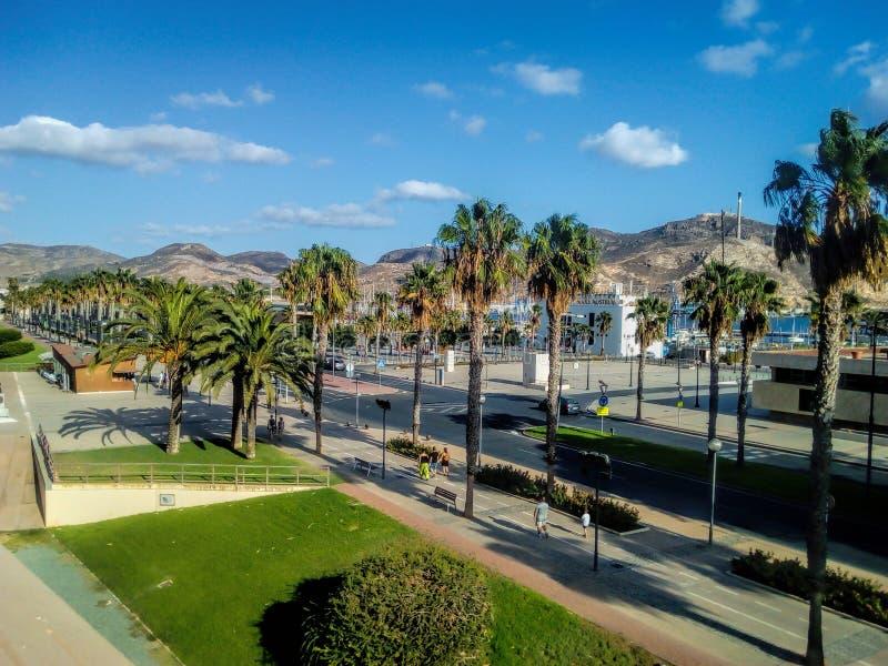 Nascer do sol do porto do porto de Cartagena Múrcia na Espanha Console mediterrâneo recolhido fotografia Córsega foto de stock royalty free