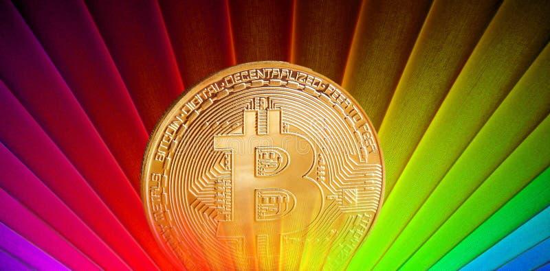 Nascer do sol retro de Bitcoin foto de stock