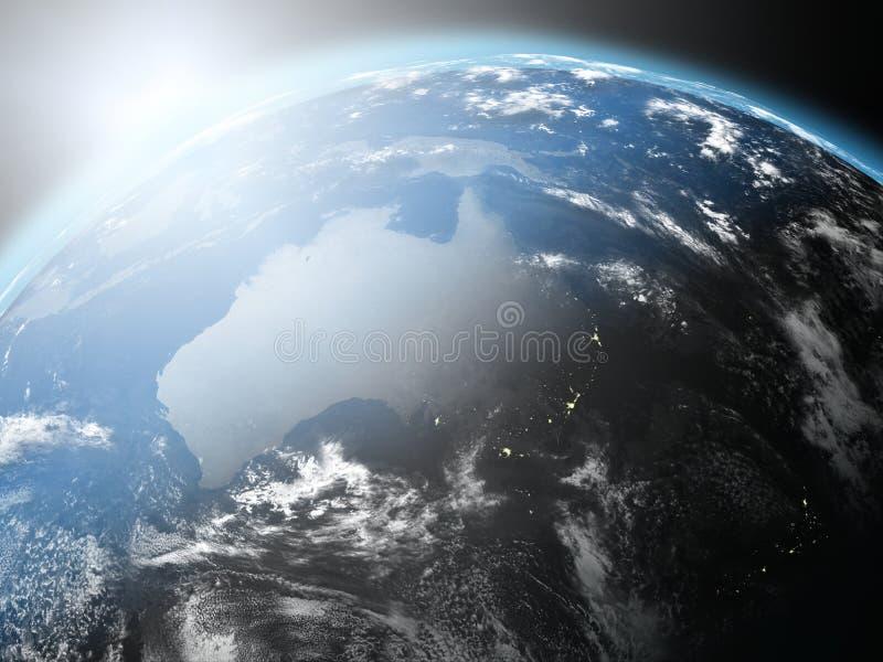 Nascer do sol sobre Austrália ilustração royalty free