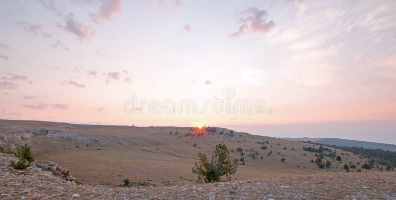 Nascer do sol sobre a garganta/bacia da xícara de chá em Sykes Ridge nas montanhas na beira de Wyoming Montana - EUA de Pryor imagem de stock royalty free
