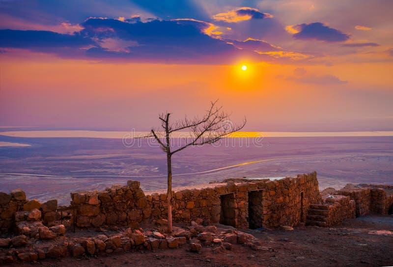 Nascer do sol sobre Masada fotos de stock royalty free