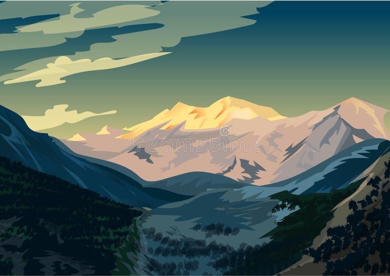 Nascer do sol sobre Nanga Parbat, ilustração do vetor da paisagem da montanha ilustração royalty free