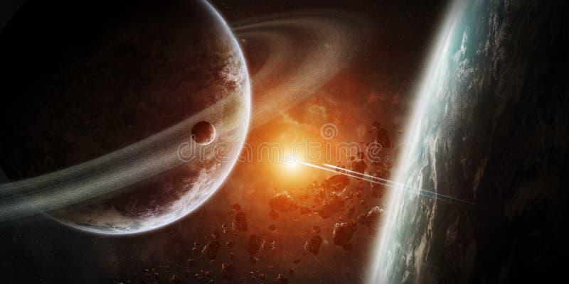 Nascer do sol sobre o grupo de planetas no espaço ilustração do vetor