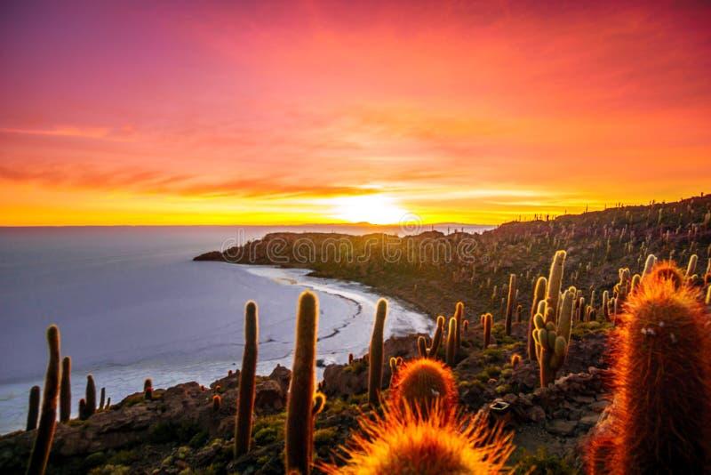 Nascer do sol sobre o lago de sal de Uyuni da ilha Incahuasi em Bolívia imagem de stock
