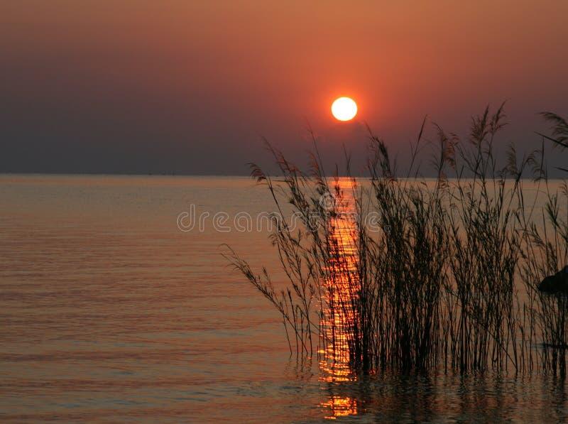 Nascer do sol sobre o lago Malawi, África fotografia de stock royalty free
