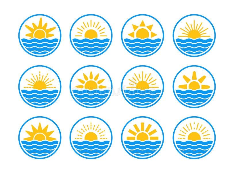 Nascer do sol sobre o mar, oceano Por do sol sobre o lago, rio Etiquetas do círculo do verão, emblemas com sol & ondas Ajuste dos ilustração stock