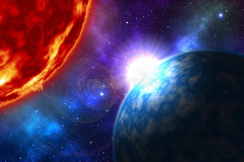 Nascer do sol sobre o planeta azul no espaço profundo com estrelas ilustração royalty free