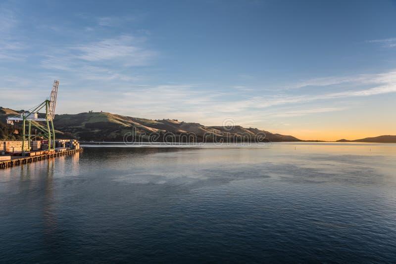 Nascer do sol sobre o porto de Otago e o porto Chalmers, Nova Zelândia fotografia de stock