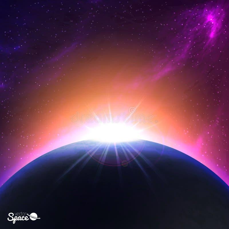 Nascer do sol sobre Terra-como o planeta Fundo colorido do espaço Ilustração do vetor para sua arte -final ilustração do vetor