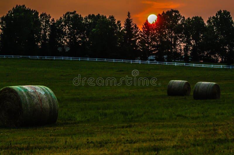 Nascer do sol sobre um campo do feno imagens de stock royalty free