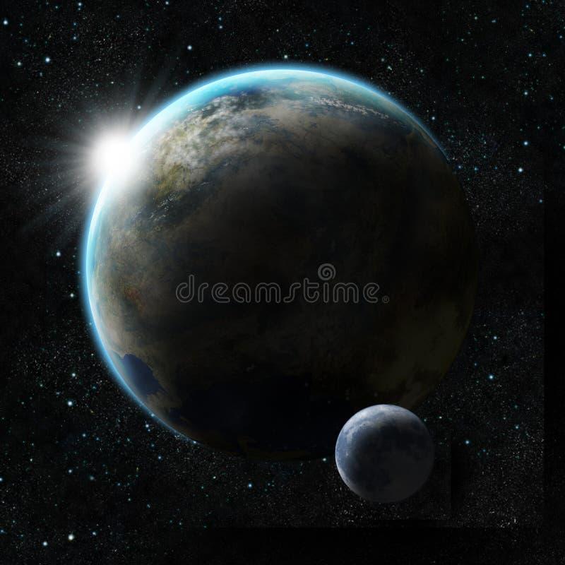 Nascer do sol sobre um planeta com lua ilustração royalty free