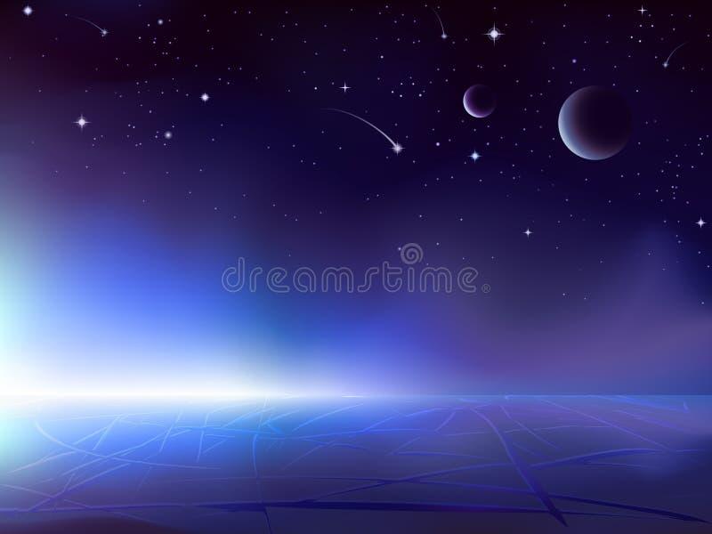 Nascer do sol sobre um planeta gelado escuro ilustração royalty free