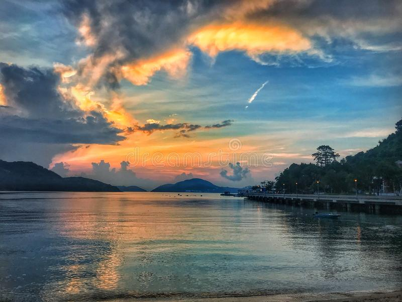 Nascer do sol tropical Hong Kong imagens de stock