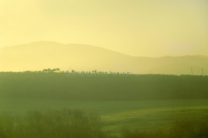 Nascer do sol verde-amarelo fotografia de stock royalty free