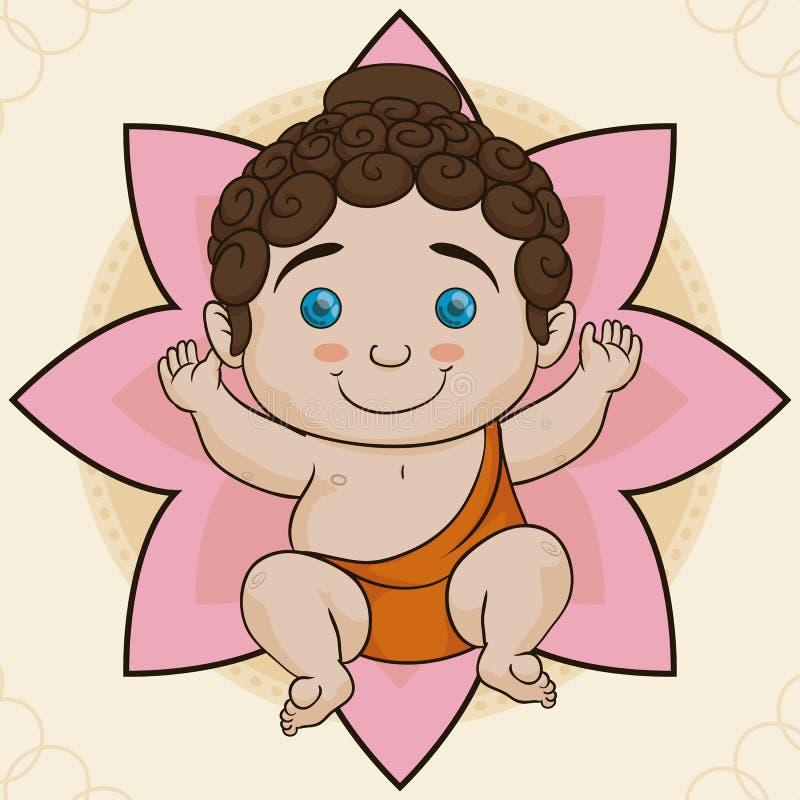Nascimento bonito sobre Lotus, ilustração da Buda do bebê do vetor ilustração do vetor
