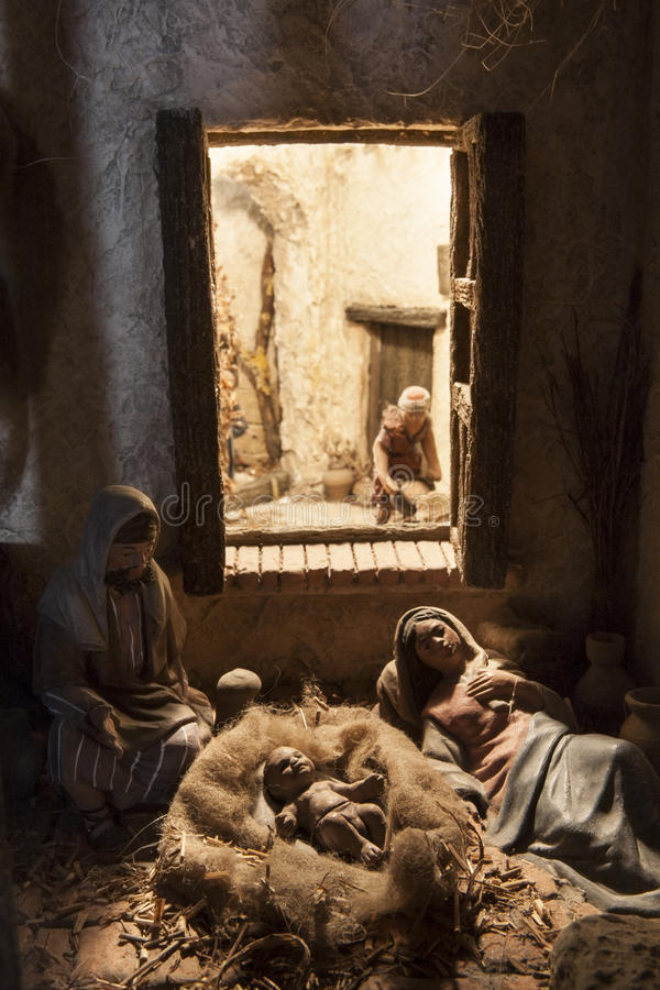 Nascimento de Jesus Cena da natividade do Natal foto de stock