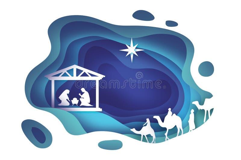 Nascimento do bebê Jesus de Cristo no comedoiro Família santamente magi Três reis e estrelas sábios de Bethlehem - cometa do lest ilustração stock