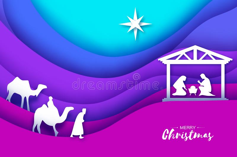 Nascimento do bebê Jesus de Cristo no comedoiro Família santamente magi Três reis e estrelas sábios de Bethlehem - cometa do lest ilustração royalty free