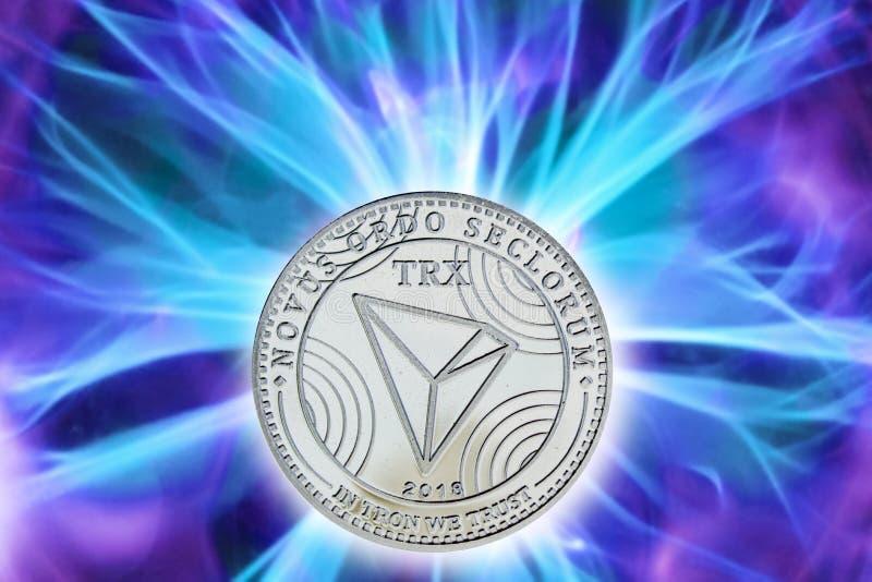 Nascimento ou forquilha do cryptocurrency de TRX ilustração stock