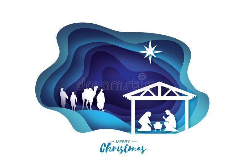 Nascita del bambino Gesù di Cristo nella mangiatoia Famiglia santa magi Tre re e stelle saggi di Betlemme - cometa orientale royalty illustrazione gratis