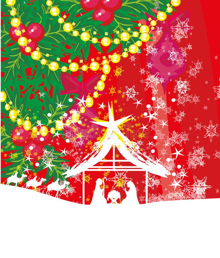 Nascita di Gesù a Betlemme - cartolina di Natale decorativa royalty illustrazione gratis